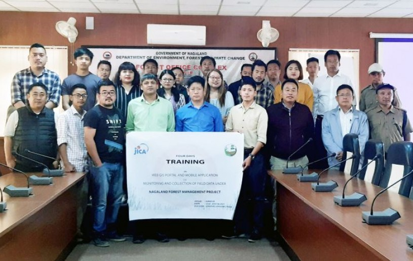 Participants of the training on WebGIS Portal and Mobile Application for Monitoring and Collection of Field Data under Nagaland Forest Management Project organized from February 22 to 25 at Forest Office complex in Dimapur. (Photo Courtesy: DFO Dimapur)